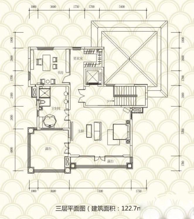 独栋别墅A户型 5房3厅4卫 455.2㎡ 三层