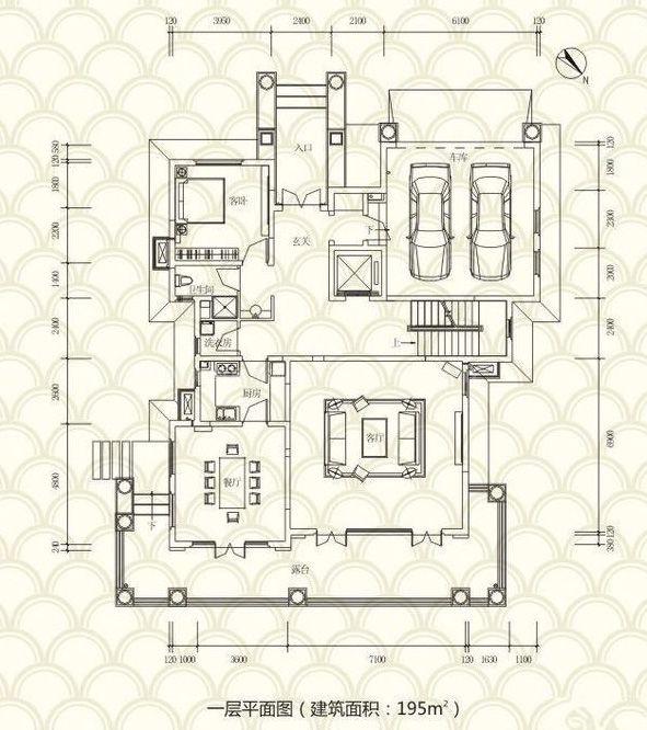 独栋别墅A户型 5房3厅4卫 455.2㎡ 一层