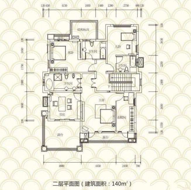 独栋别墅B户型 4房2厅4卫 313.3㎡ 二层
