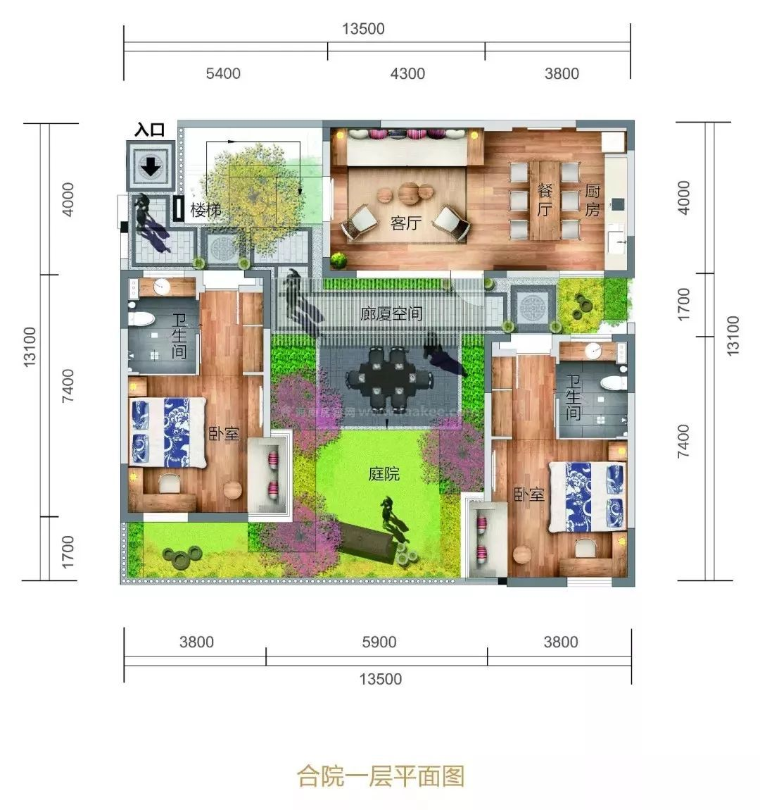 中区合院一层平面图 4室2厅4卫1厨, 建筑面积约168.00平米
