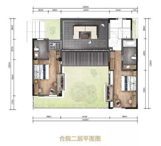 南区合院二层平面图 3室2厅3卫1厨, 建筑面积约179.00平
