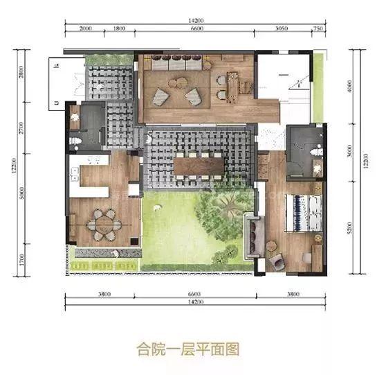 南区合院一层平面图 3室2厅3卫1厨, 建筑面积约179.00平