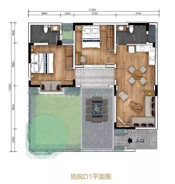 南区独院D1平面图 2室1厅2卫1厨, 建筑面积约76.00平