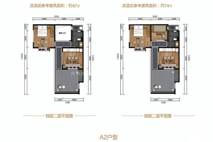 1室1厅1卫1厨, 建筑面积约67.00平米