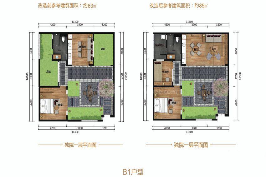 B1户型, 1室1厅1卫1厨, 建筑面积约63.00平