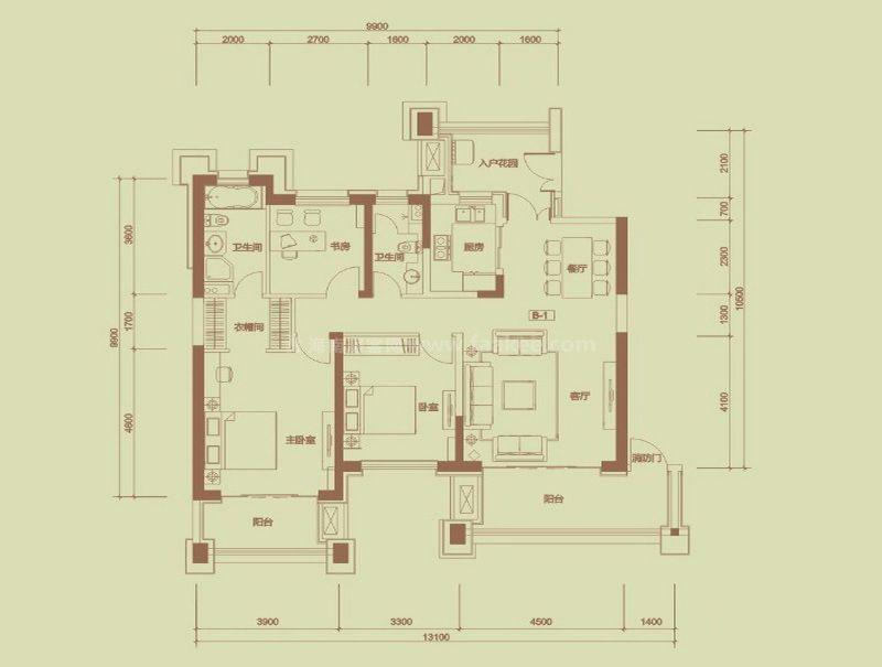 珊瑚园2栋B-1户型, 3室2厅2卫, 建筑面积约138.45平