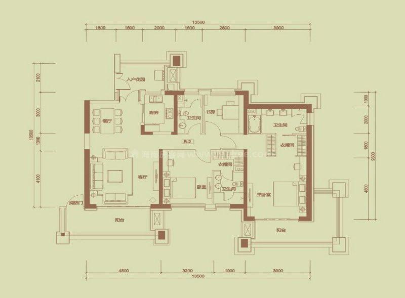 珊瑚园2栋B-2户型, 3室2厅3卫, 建筑面积约155.19平