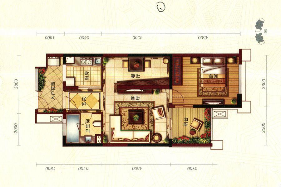 珊瑚园1栋G-1户型, 1室2厅1卫, 建筑面积约75.86平
