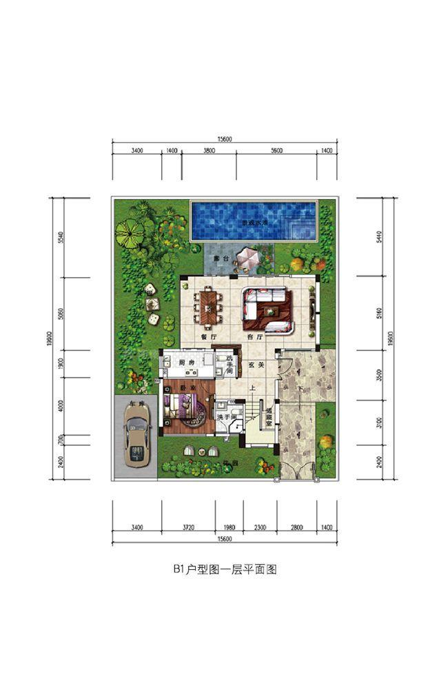 浣溪果岭B1、B1a现代别墅户型-3室2厅4卫-建面约204.69㎡