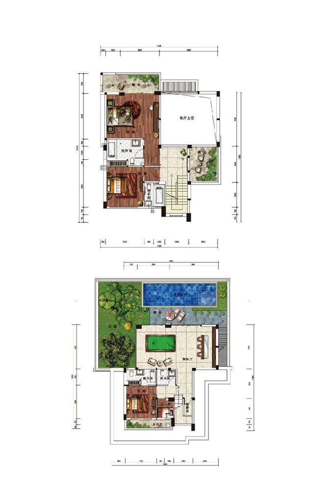 浣溪果岭B2现代别墅户型-4室3厅5卫-建面约308㎡