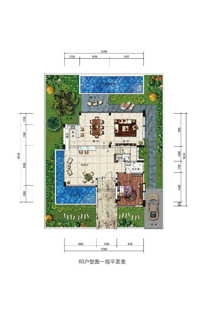 浣溪果岭B3现代别墅户型-4室3厅5卫-建面约288㎡