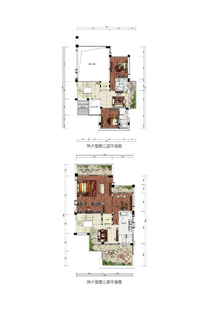 浣溪果岭B5现代别墅户型-5室3厅-建面约448㎡ 平面图
