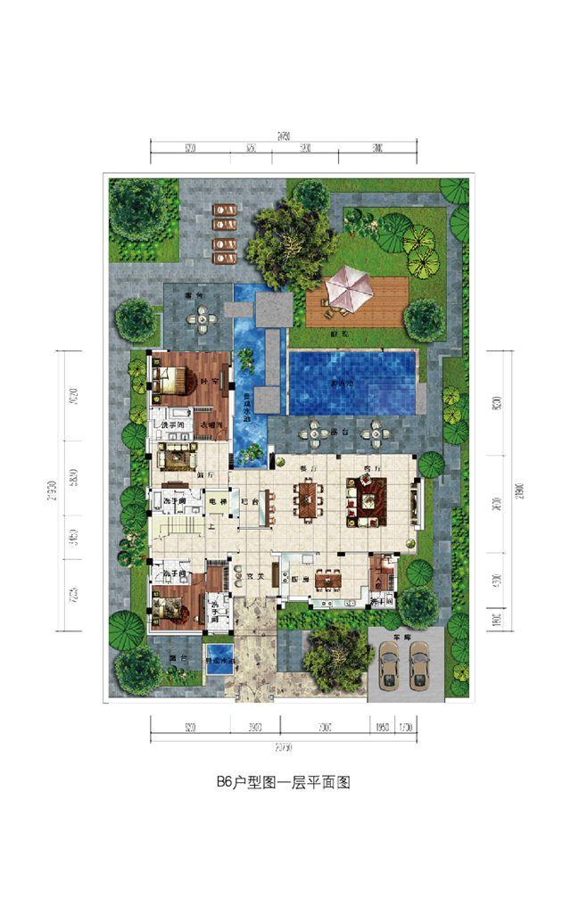 浣溪果岭B6现代别墅户型-6室3厅-建面约551㎡ 一层平面图
