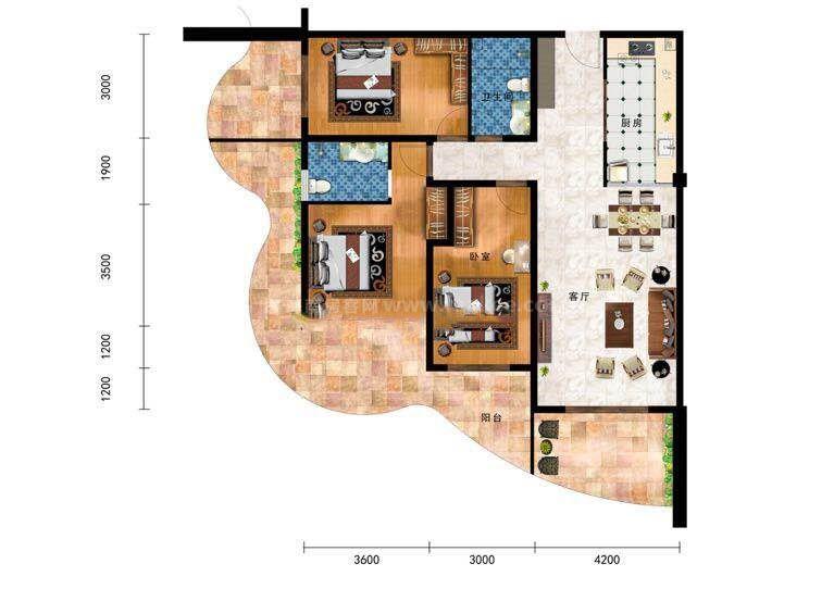 3室1厅1卫-建面:100-150㎡