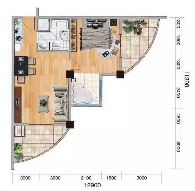 1室1厅0卫-建面:90.21㎡