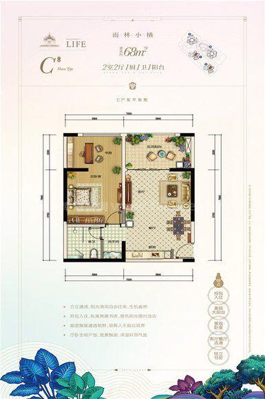 C户型 2室2厅1卫1厨 建筑面积:68.00㎡