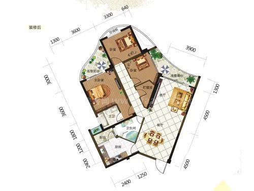 6、7#栋0304户型, 3室2厅2卫, 建筑面积约120.36平米