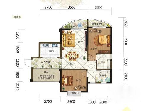 6、7#栋0106户型, 2室2厅2卫, 建筑面积约84.48平米