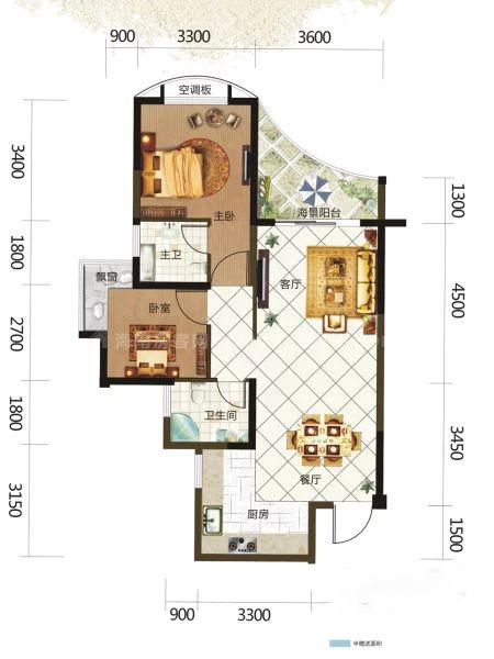 6、7#栋0203户型, 2室2厅2卫, 建筑面积约87.29平米