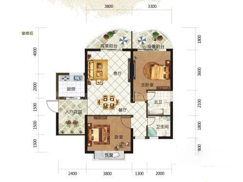 8#0108户型, 2室2厅2卫, 建筑面积约87.86平米
