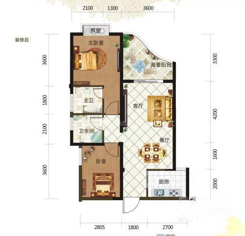 8#0207户型, 2室2厅2卫, 建筑面积约87.64平米