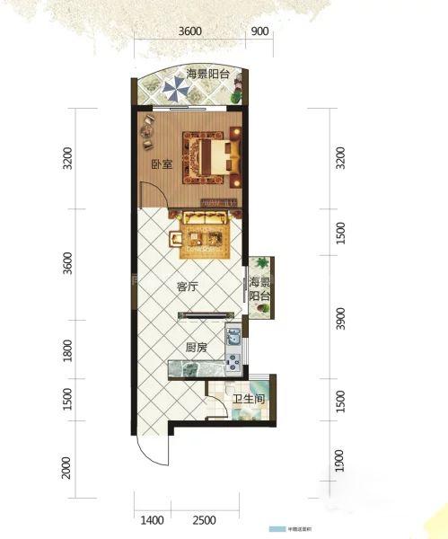 8#0405户型, 1室1厅1卫, 建筑面积约53.96平米