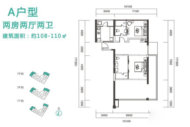 A户型 2室2厅2卫1厨 建筑面积:110.00㎡