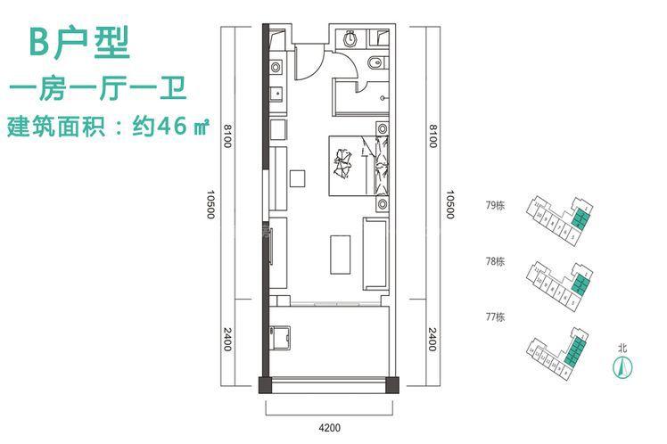 B户型 1室1厅1卫1厨 建筑面积:46.00㎡