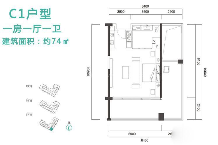 C1户型 1室1厅1卫1厨 建筑面积:74.00㎡