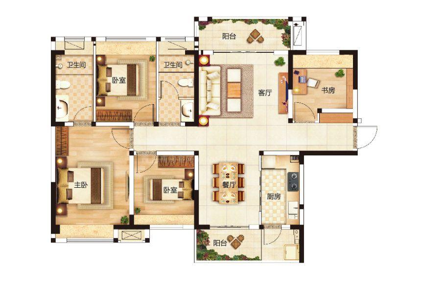 B户型 4室2厅1厨2卫 建面121.67平