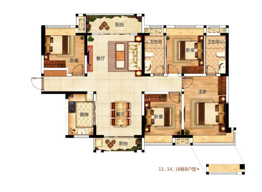 D户型 4室2厅1厨2卫 建面138.43平