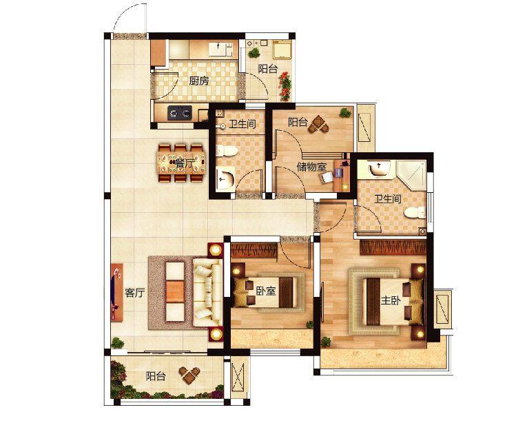 C户型 2室2厅1厨2卫 建面93.94m²