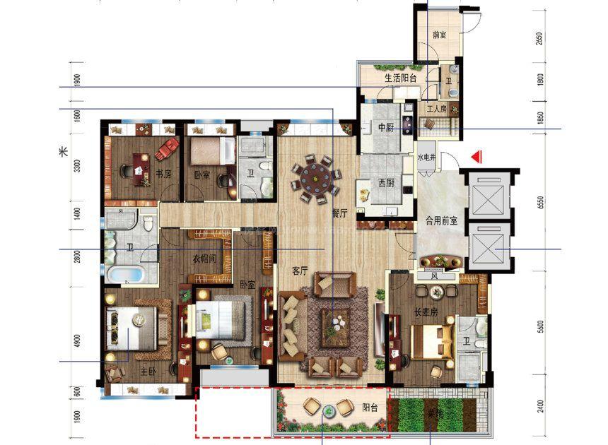6室2厅1厨3卫 建面282平
