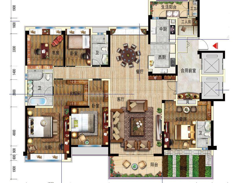 YJ户型 5室2厅1厨3卫 建面270平