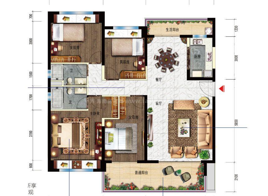4室2厅1厨2卫 建面147平