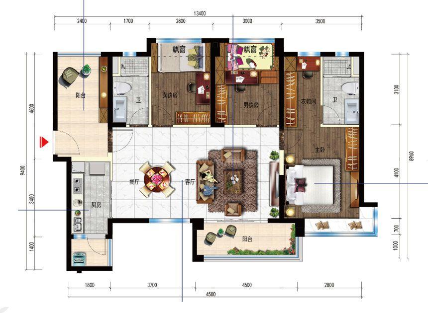 3室2厅1厨2卫 建面114平