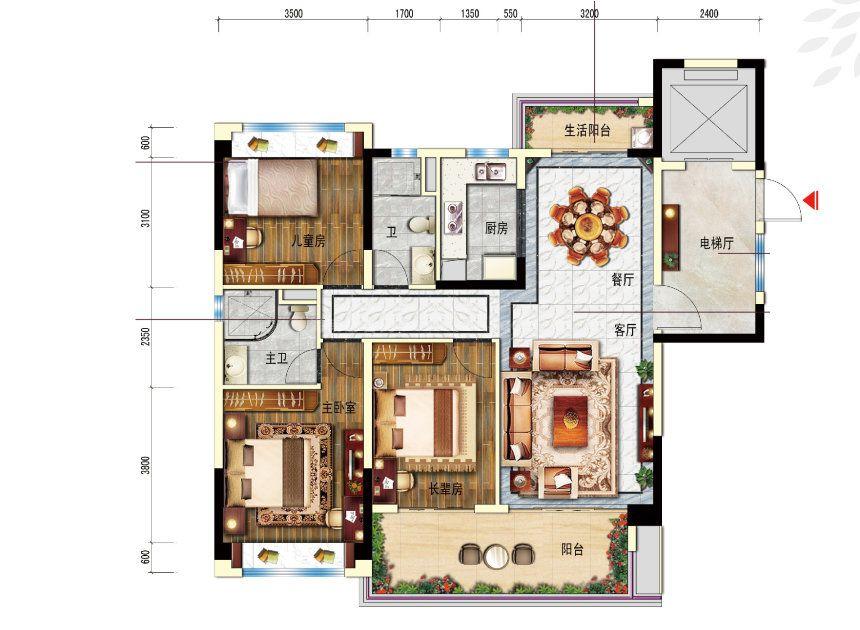 3室2厅1厨2卫 建面120平