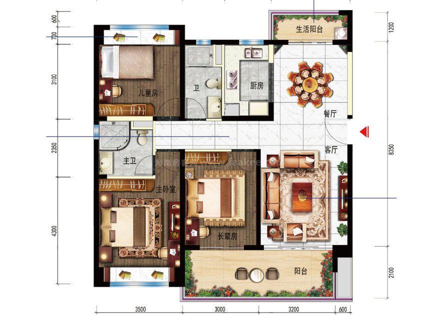 YJ118T-A户型 3室2厅1厨2卫 建面125平