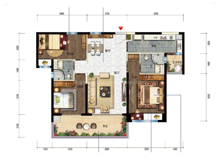 YJ143T-B户型 3室2厅1厨2卫 建面117平