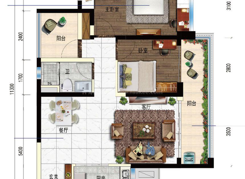2室2厅1厨1卫 建面85平