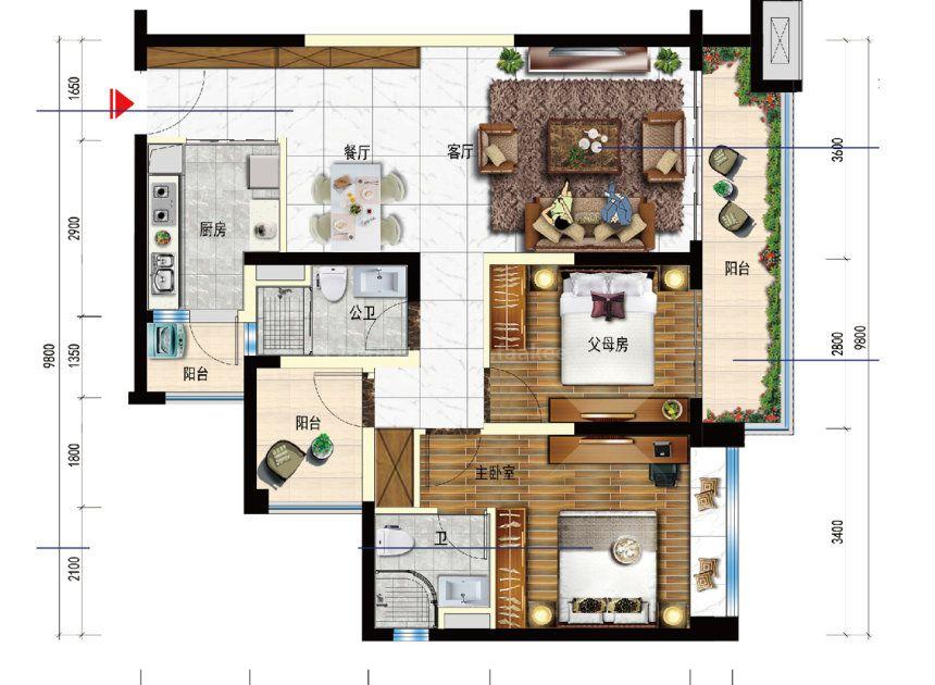 2室2厅1厨2卫 建面94平