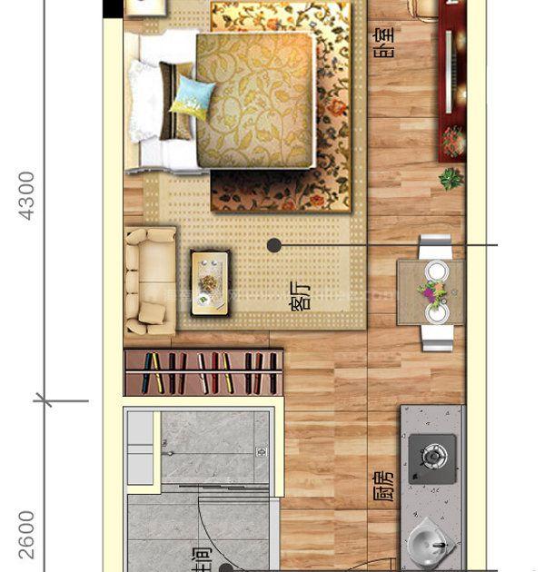 A户型 1房1厅1卫1厨 建面35平