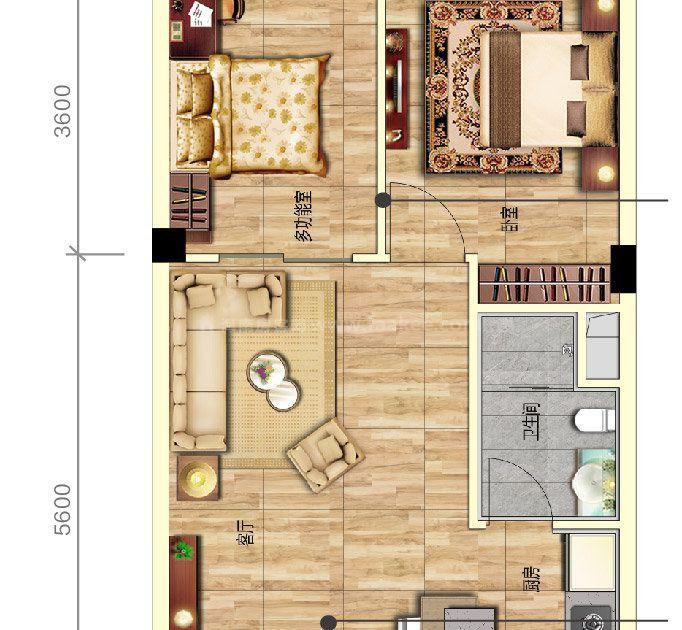 B户型 1房1厅1卫1厨 建面67平