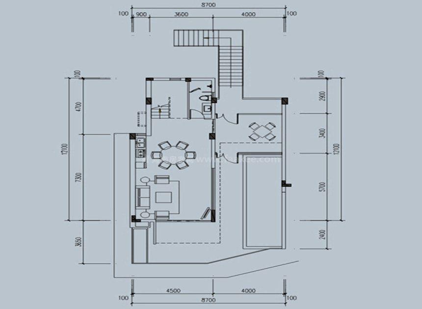 叠墅户型 3室3厅1厨4卫 建面180平