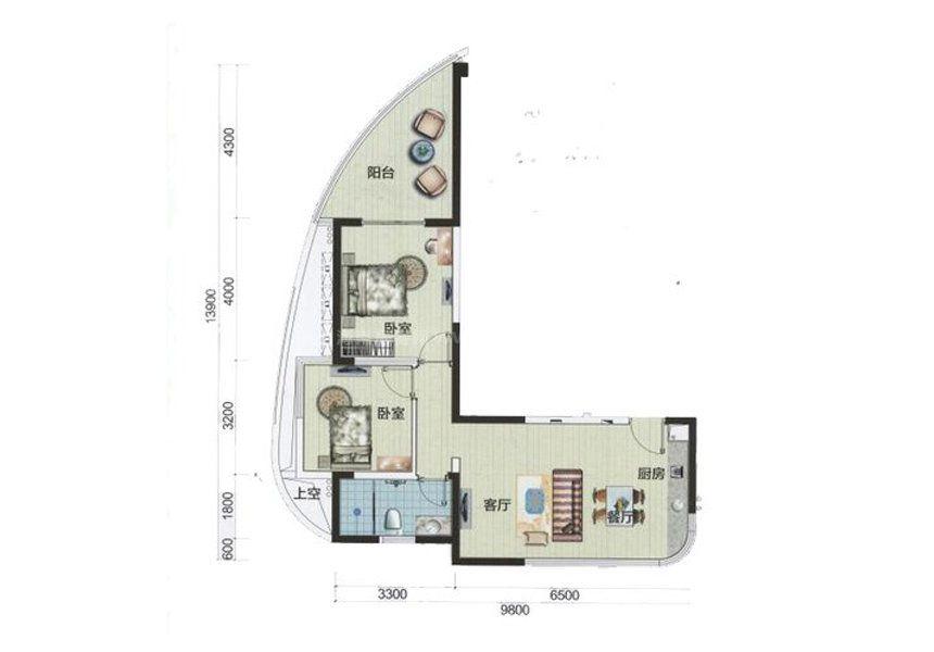 2室2厅1厨1卫 建面82㎡