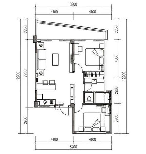 K3户型 2室2厅1厨1卫 建面87㎡