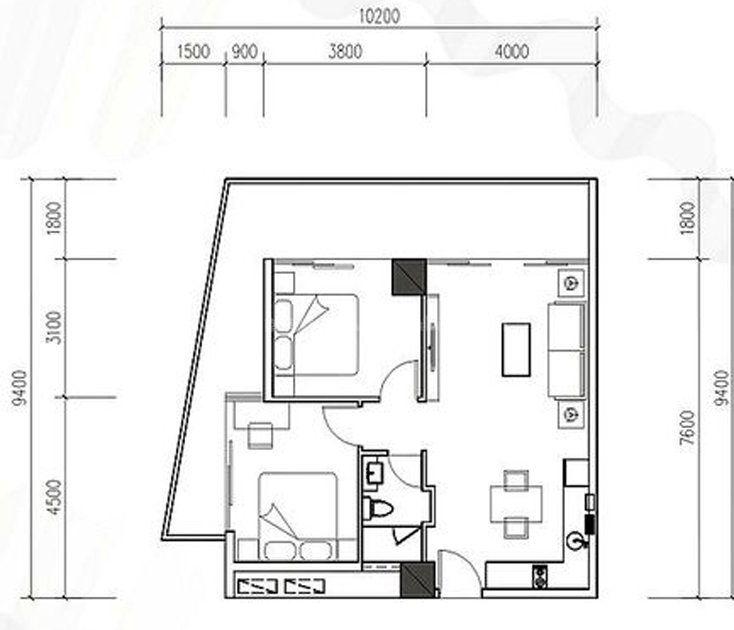 K8户型 2室2厅1厨1卫 建面97㎡