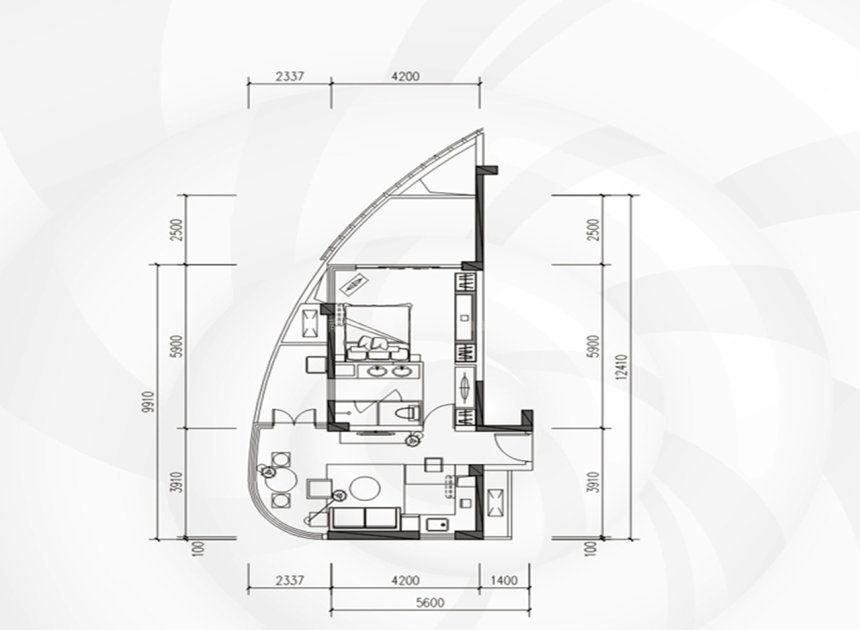 B1-B3栋01、12户型 1室1厅1厨1卫 建面75平