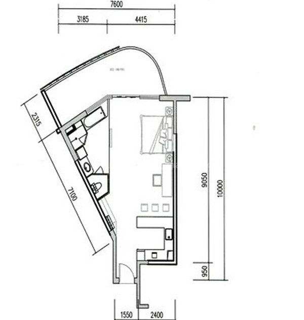 B1-B3栋06、07户型 1室1厅1厨1卫 建面79平