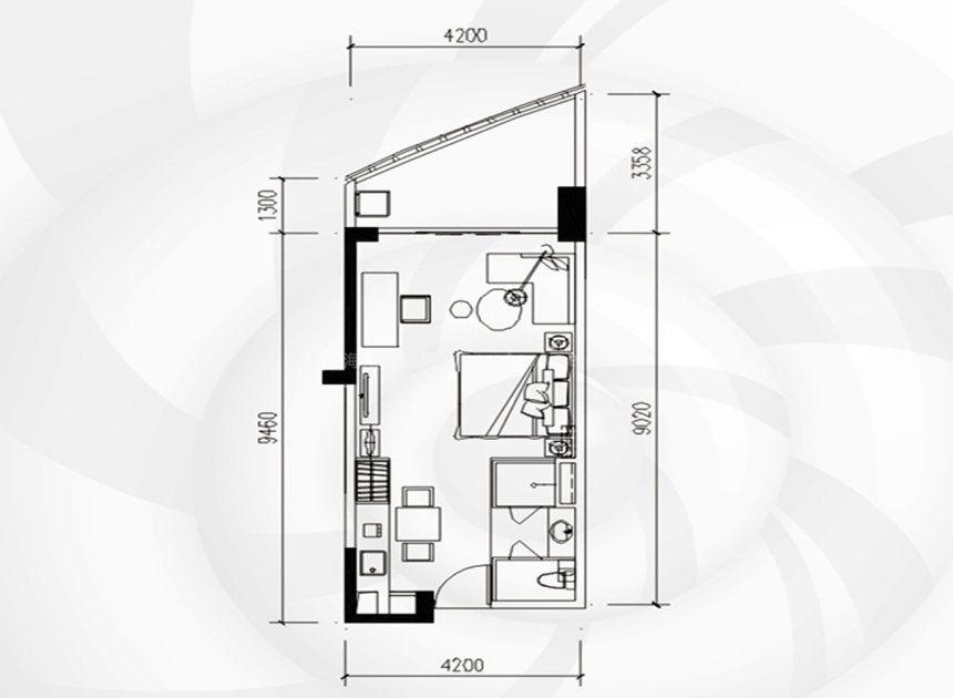 B2户型 1室1厅1厨1卫 建面56平